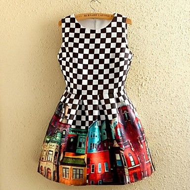 Women's Vintage Black And White Plaid Floral Print Sleeveless Dress – EUR € 13.63