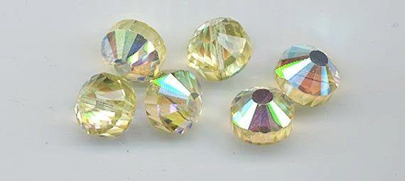 Six rare vintage Swarovski crystal beads: Art. 349/5101 - 12 mm - jonquil AB