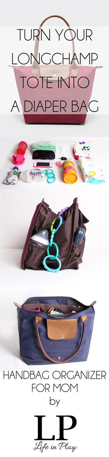 handbag organizer for mom and the Longchamp Le Pliage tote | purse organizer