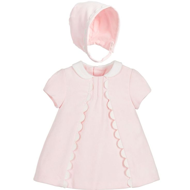 Made in a pretty pink textured velvet with white scalloped fabric trims, this charming dress and bonnet set makes for a winning combination with which to impress family and friends. Both pieces are fully lined to ensure the softest feel against her skin.