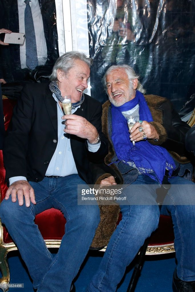 Actors Alain Delon and Jean-Paul Belmondo attend 'La Grande Roue de Paris' : Opening Ceremony at Place de la Condorde on the Champs Elysees on November 17, 2017 in Paris, France.