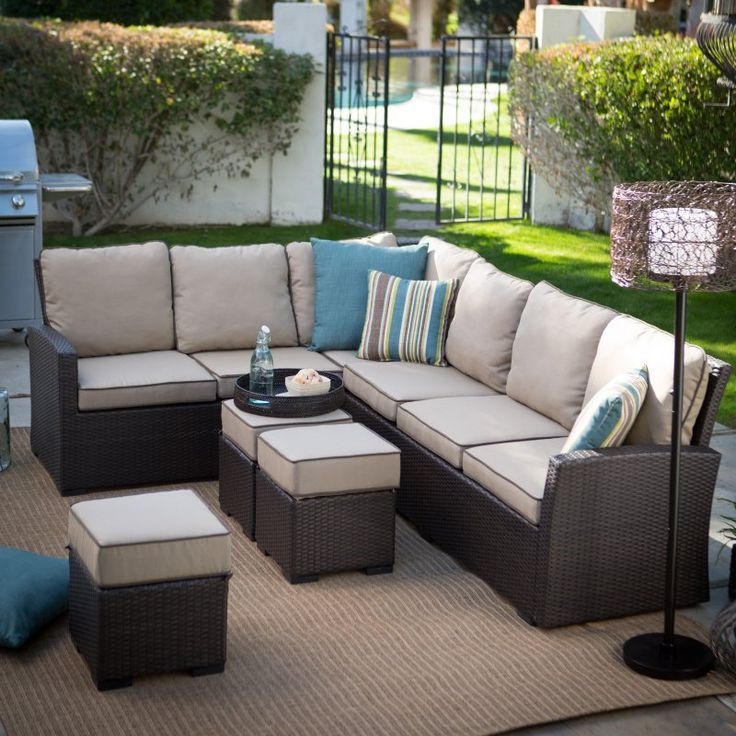 Belham Living Monticello All-Weather Outdoor Wicker Sofa Sectional Set - 12C053A-W-3D-SET