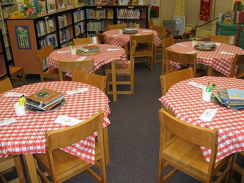 "Book Tasting. This could be fun for the beginning of the year. Have the kids ""taste"" different books and fill in their reading notebook with what books they want to read that year... Love this! I'd add a plate of cookies, carrots or whatever to each table too."