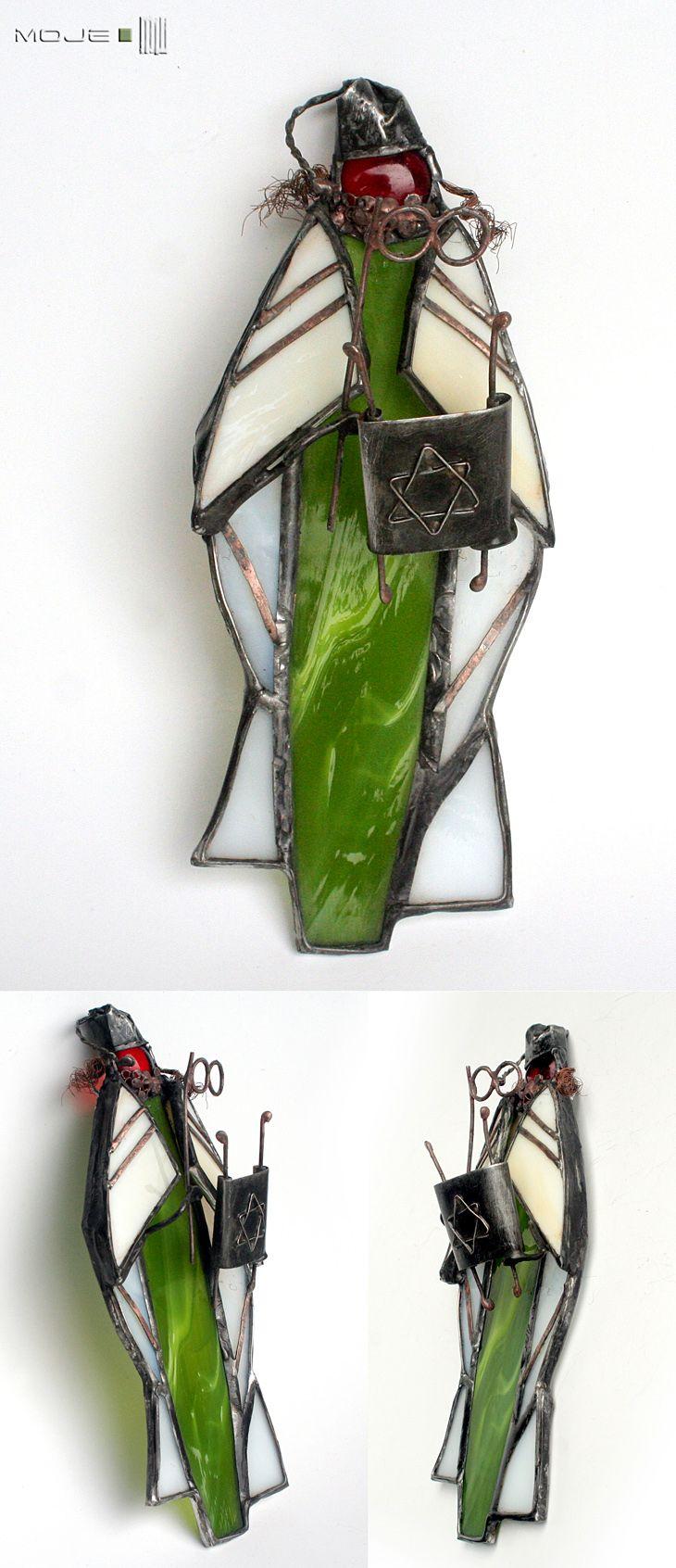 Żydek z Torą / Jew with Torah. Witraż Tiffany / Tiffany Stained Glass. Moje MW