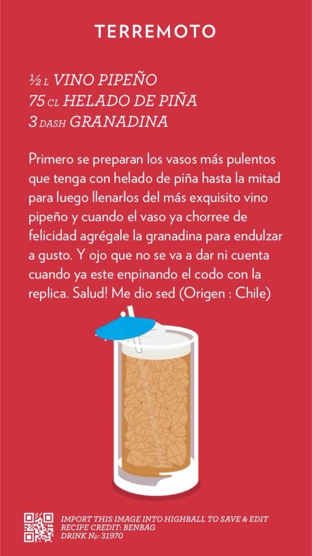 "Receta del exquisito brebaje ""Terremoto""! #SeNosVieneEl18 #Chile #drinks #copete #tragos"