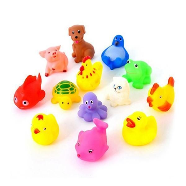 13Pcs Lovely Mixed Colorful Rubber Can float On water And sound when Squeeze You Squeaky Bathing Toy For Bath Duck Игрушки Для Купания
