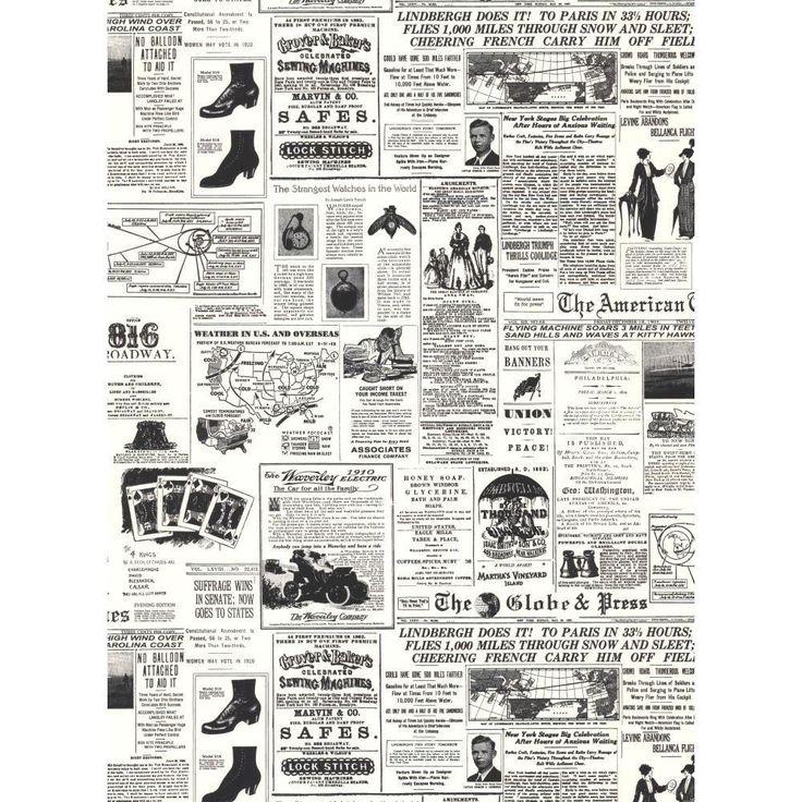 York Wallcoverings 56 sq. ft. Headline News Wallpaper-KW7620 - The Home Depot