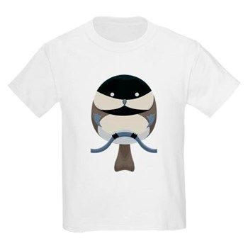 Cartoon Chickadee Kids Light T-Shirt from cafepress store: AG Painted Brush T-Shirts. #chickadee #bird #kid #tshirt