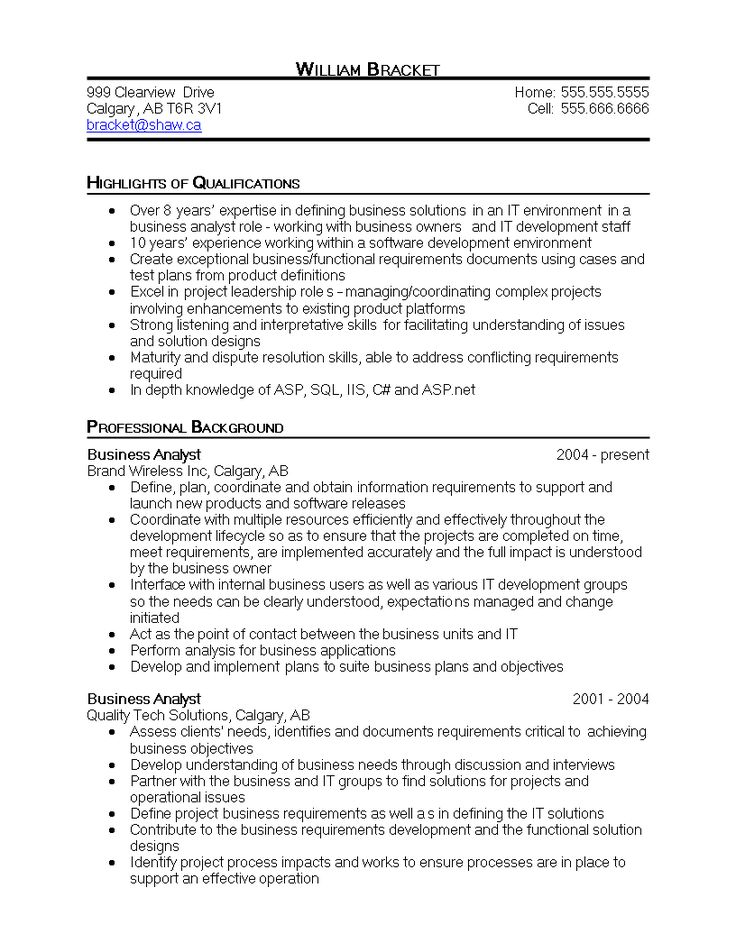 Business analyst it resume sample how to create a