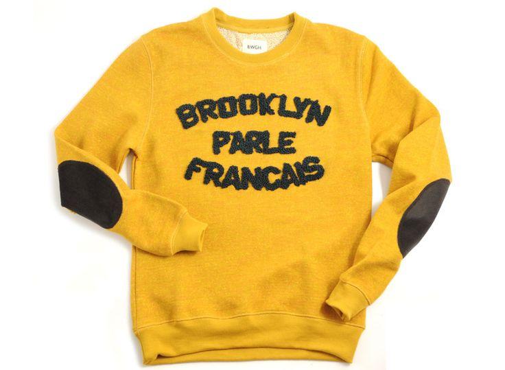 Brooklyn We Go Hard Brooklyn Parle Francais Sweat Mustard / Green   Novoid Plus