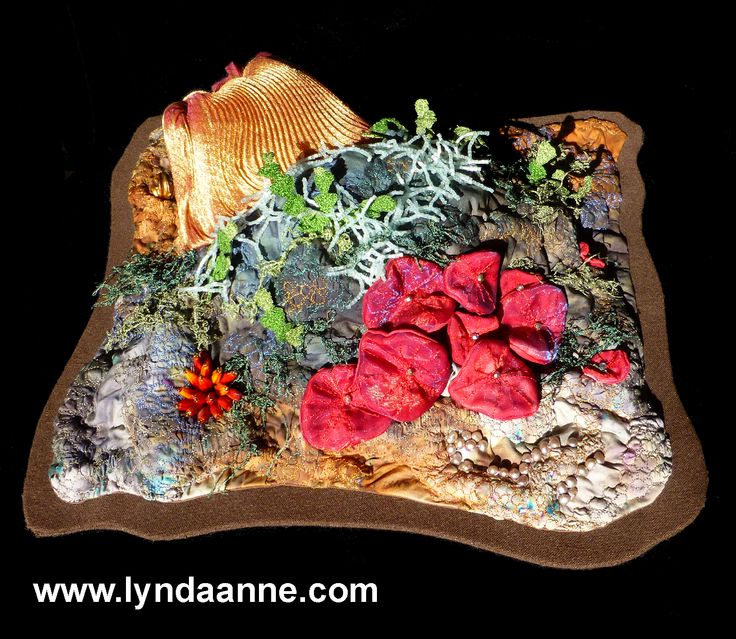 """""""Coral Rock"""" - such fun to make!  3D textile art with machine embroidery, beading, & so much more!  Lots of things to see on all angles. #textileart #embroidery #beading www.lyndaanne.com"""