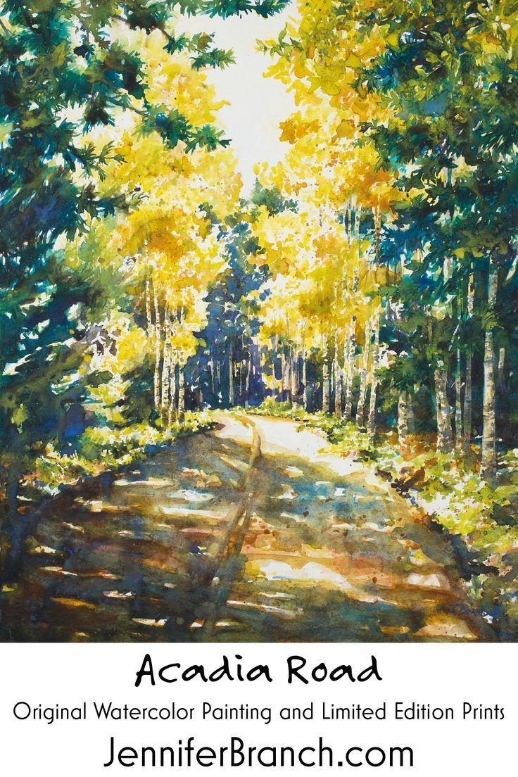Acadia Road Road Painting Watercolor Paintings Watercolor