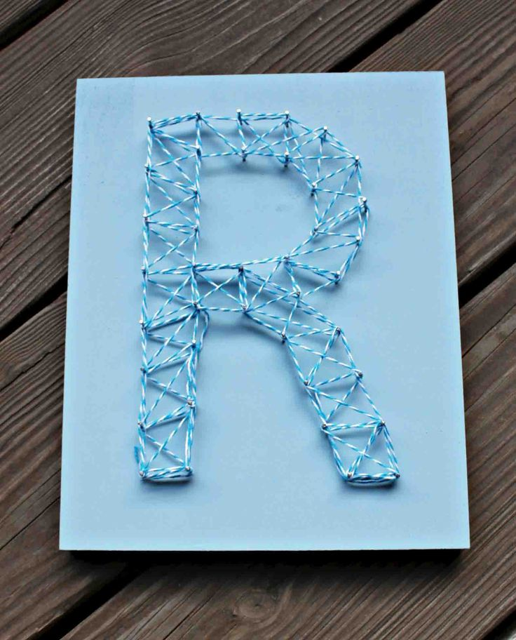 Nail String Art - Initial and Chevron - Sometimes Homemade