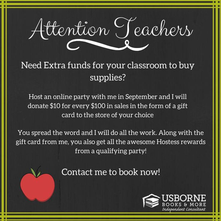 Attention Teachers: Check out this awesome special I am running for you through my Usborne Books & More business. Contact me today to schedule your party :) Let me know if you have any questions! http://y4963.myubam.com