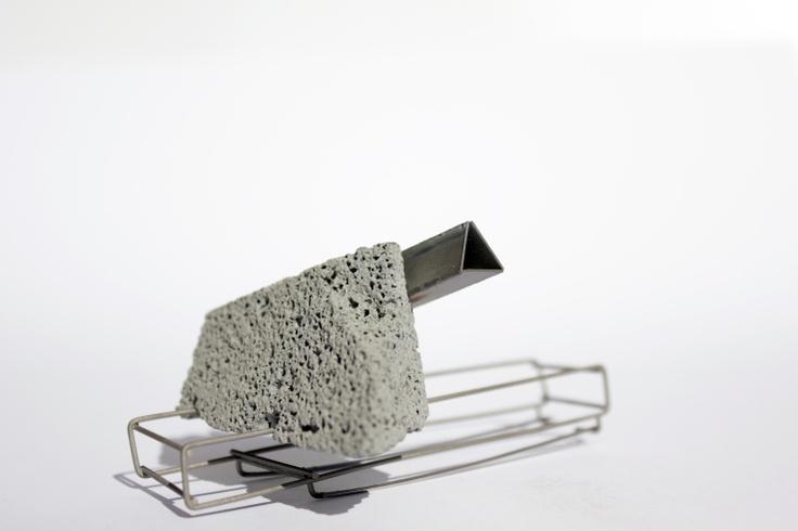 Drew Markou brooch Steel and Concrete