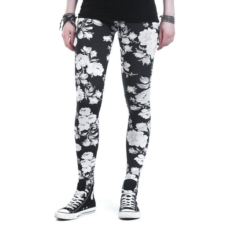 """#Leggings neri con fiori stampati """"Ladies Flower Leggings"""" di Urban Classics."""