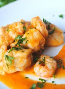 Monkfish with Prawns in spicy sauce Thermomix