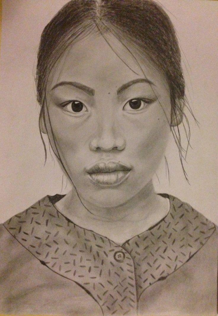 Vietnamese girl- first portrait drawing, dorottyaart.com