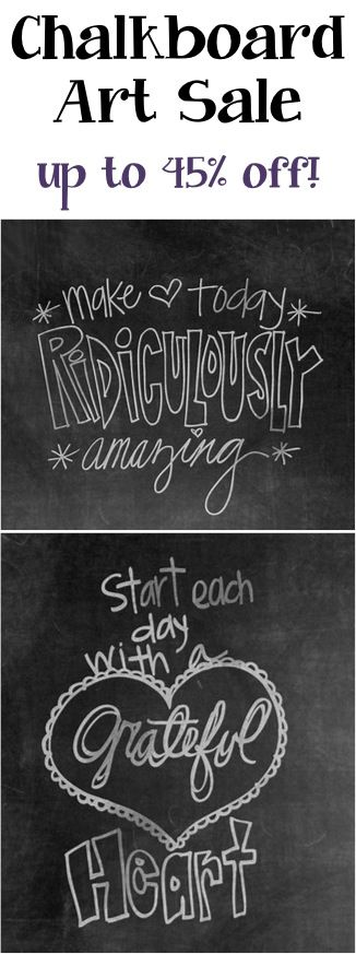Add some fun flair to your walls with these sweet Chalkboard Art Prints! Check out these deals today on Chalkboard Art Prints ~ up to 45% off! Go to Zulily to sign in or sign up to view this and ot...