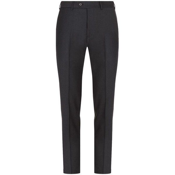 Armani Collezioni Flannel Melange Trousers ($245) ❤ liked on Polyvore featuring men's fashion, men's clothing, men's pants, men's dress pants, men's 5 pocket pants, mens flat front dress pants, mens flannel dress pants and men's flannel pajama pants