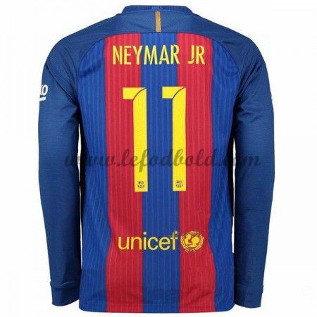 Billige Fodboldtrøjer Barcelona 2016-17 Neymar Jr 11 Langærmet Hjemmebanetrøje