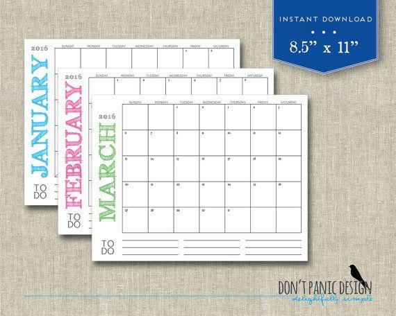 Typography Calendar Download : Printable wall calendar simple modern rustic font
