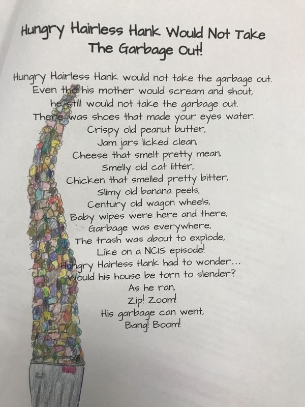 Sarah Sylvia Cynthia Stout Would Not Take The Garbage Out! Students use Shel Silverstein's poem as a mentor text to create their own narrative poem inspired by Sarah Sylvia Cynthia Stout! Students applied many different types of Figurative Language & poetic devices.