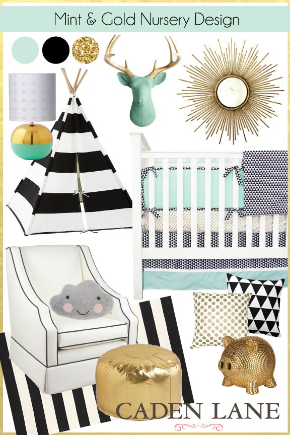 Mint and Gold Nursery Design - droooling over this fabulous mint, black, white, and gold color combo! Such a modern design for gender neutral! #gold #mintnursery #babybedding #cadenlane