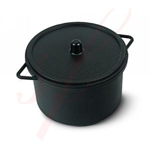 Black Cooking Pot with Lid 10oz.