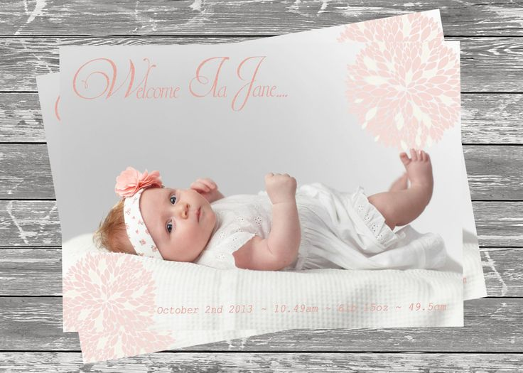 Baby Girl Birth Announcement    ~ PRINT YOURSELF ~ Birth Announcements, Thankyou Cards. Birthday Invitations, Custom Design ~ by LittleFeetInvites on Etsy