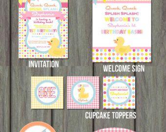 De partij van de verjaardag van rubber Duck, Rubber Duck Party Kit, Rubber Duck, Rubber Duck verjaardag pakket, Rubber Duck verjaardagsuitnodiging, Rubber Duck