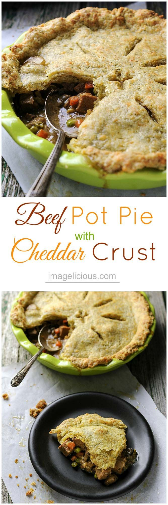 Beef Pot Pie with Cheddar Crust - Perfect for leftover roast. Soft cubes of meat, melting into silky smooth gravy, studded with bright carrots and peas, mixed with earthy mushrooms, and occasional clove of sweet soft garlic, covered in flakey cheddar pastry with a hint of fresh dill