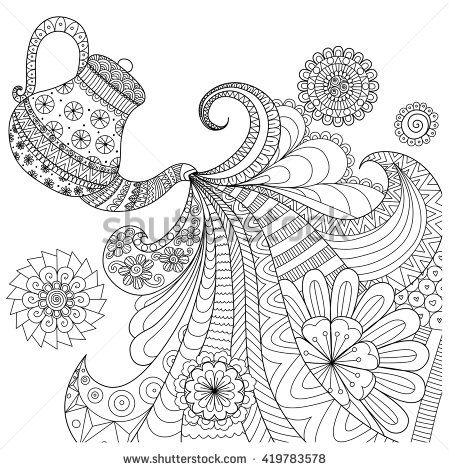 Line Art Design Of Teapot Pouring Tea For Coloring Book Adult And Other Decorations