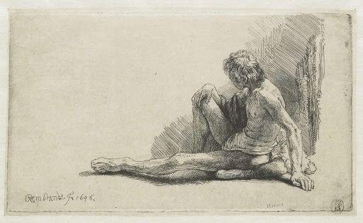 Jonge man, zittend op de grond met ŠŠn been uitgestrekt Rembrandt1646/1646
