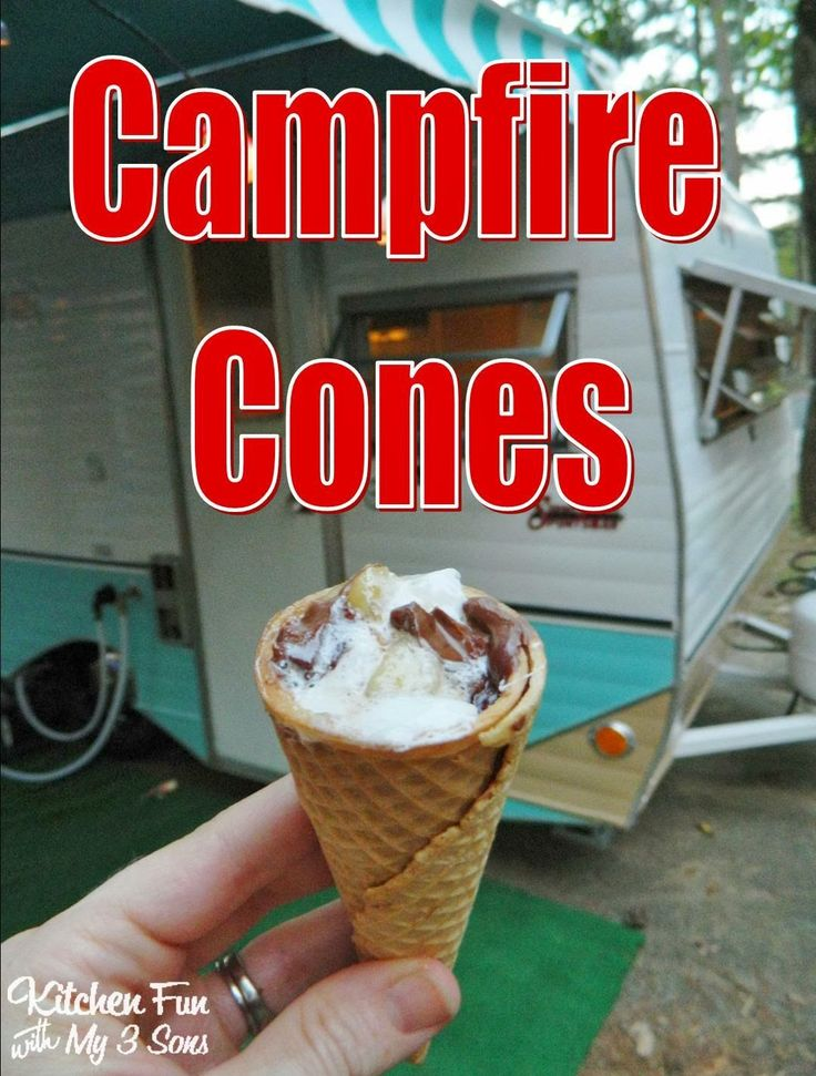 """<p>These Campfire Cones are a big hit with the kids and you can fill them with whatever they like!</p> <p>Directions <a href=""""http://www.kitchenfunwithmy3sons.com/2013/11/brownie-bear-claw-camping-cookies-other.html"""">HERE</a></p>"""