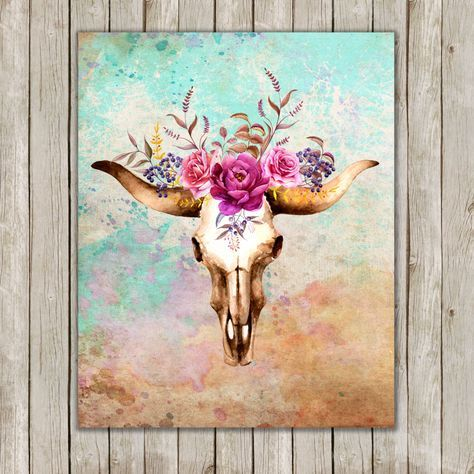 8x10 Watercolor Bull Skull Printable Art, Skull Poster, Boho Animal Print,  Floral Art Poster, South Western Wall Art, Instant Download by twomoonsandafry on Etsy https://www.etsy.com/listing/240700743/8x10-watercolor-bull-skull-printable-art
