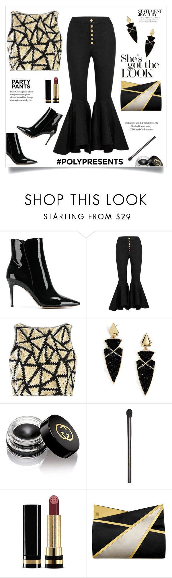 """""""She's Got The Look!"""" by diane1234 ❤ liked on Polyvore featuring Gianvito Rossi, E L L E R Y, Boohoo, BaubleBar, Mor, Gucci and Jill Haber"""