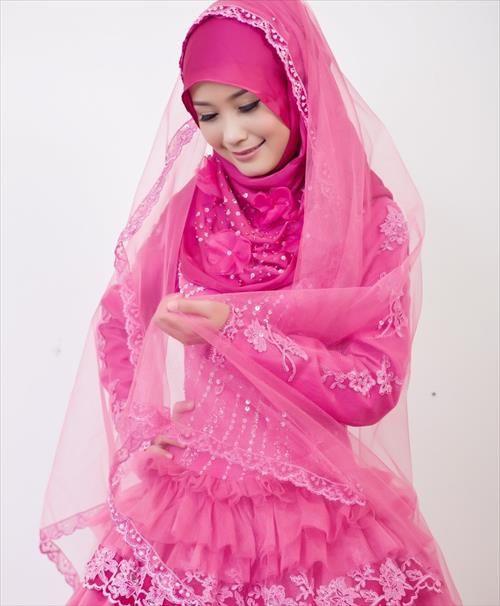 Pink Islamic Wedding Dresses | Hijab Styles