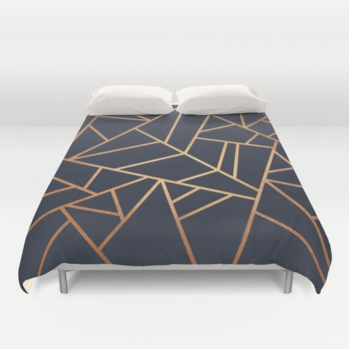 $89.Copper and midnight Navy Full Sized Duvet Cover by Elisabeth Fredriksson from Society 6