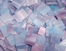 """100 1/2"""" Steel Blue Ripple Tumbled Stained Glass Mosaic Tiles"""