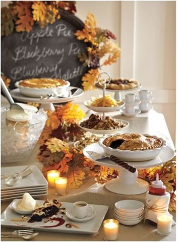 Autumn Celebration ~ Dessert Buffet Table ~ Look closely, there is much to learn here from this skilled set-up. pottery barn