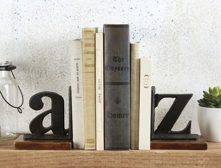 BOOK END A & Z SET OF 2  - BLACK/ BROWN