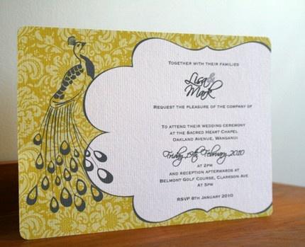 Peacock Wedding Ideas and Supplies: Peacock Garden WEDDING INVITATION