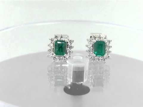 Emerald and diamond earrings E-DUOI-098 by www.GreenInGold.com #earrings #emerald #diamonds