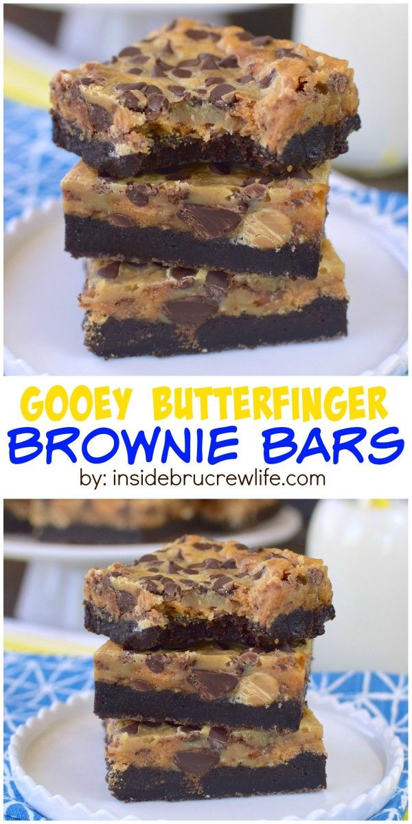 Gooey Butterfinger Brownie Bars | Recipe | Butter, Candy ...