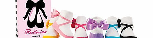 Trumpette Ballerina Socks, Pack of 6, Multi This gorgeous pack includes six pairs of cute and colourful socks. Each pair is completed with a ballerina shoe design and satin bow at the ankle. Suitable for ages 0-12 months. An ideal gift, they co http://www.comparestoreprices.co.uk/baby-clothing/trumpette-ballerina-socks-pack-of-6-multi.asp