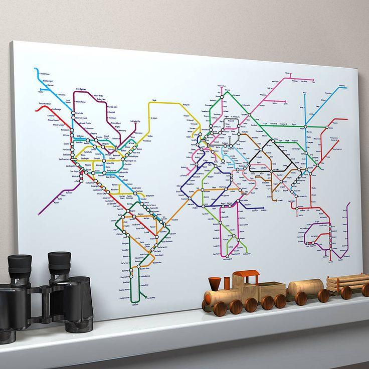 Subway Tube Metro World Map Art Print