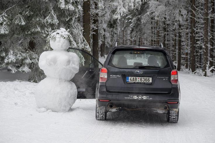 Už víme, řím jezdí sněhuláci do práce. #forester