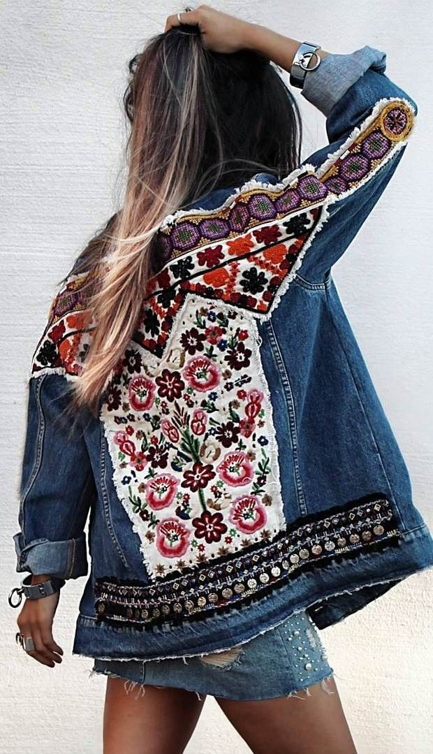 double denim | embroidered jacket + skirt
