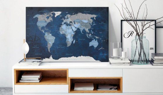 Obraz na korku - Dark Blue World #mapart #domov #decor #korek #design #travel #pin #wall #cork #blue